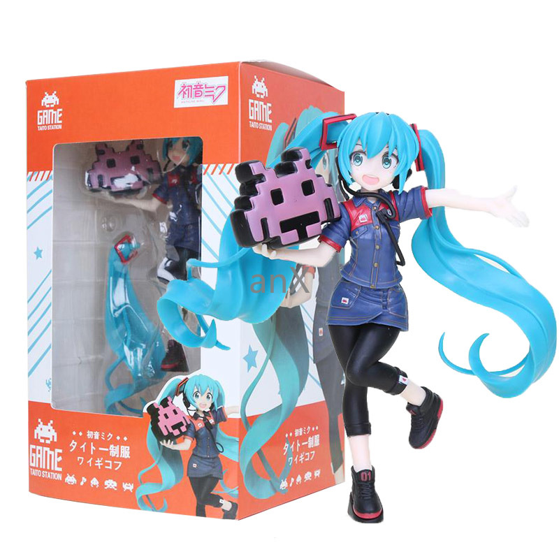 20cm Game Taito Station Hatsune Miku Staff uniform Ver PVC Figure Model Dolls VOCALOID Miku Toys Gifts(China)