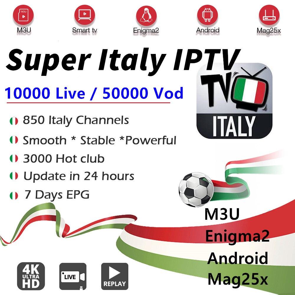 Italy Iptv Subscription M3u LIVE&VOD Italian Iptv Italy Albania Germany USA UK Arabic Iptv Android Smart Tv Box M3u Stb Enigma2
