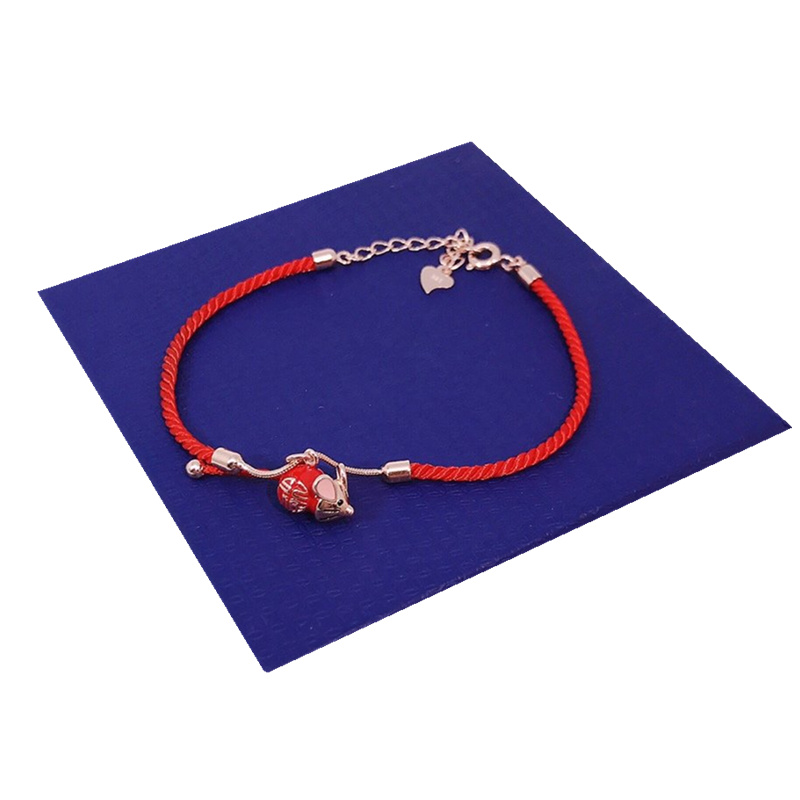 Купить с кэшбэком 2020 Year of The Rat The New 100% 925 Sterling Silver Red Rope Bracelets Ins Cute Blessing Little Mouse Copal Coating Resin