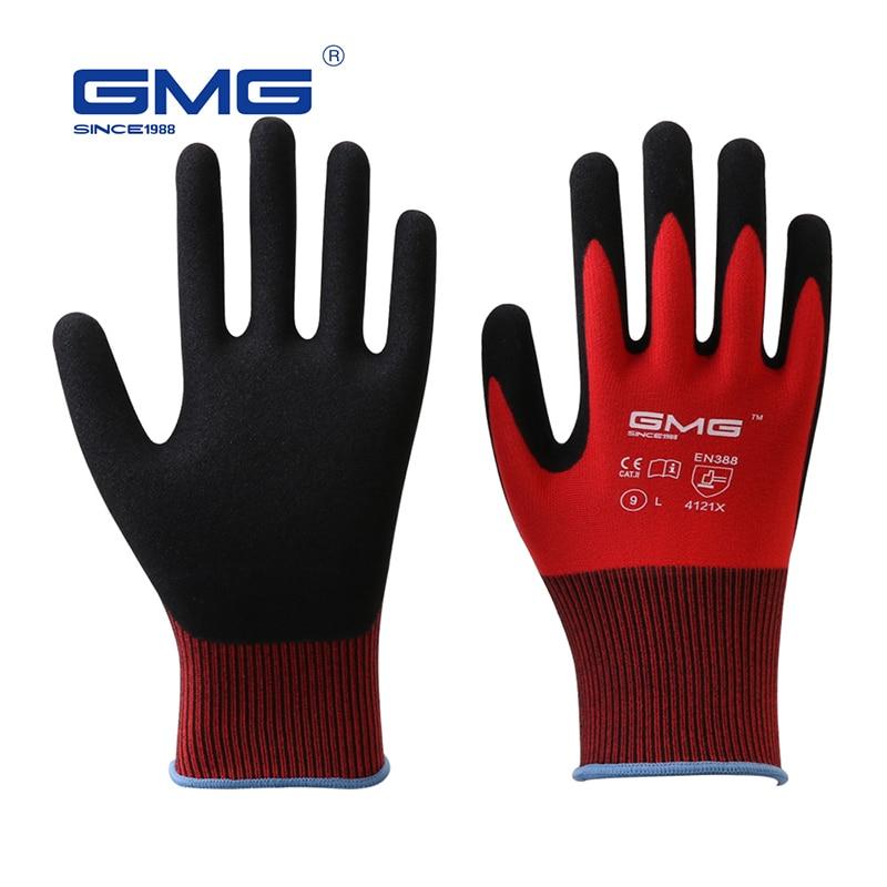 12 Pairs Construction Gloves GMG Red Polyester Shell Black Nitrile Sandy Coating Work Safety Gloves Men Work Gloves