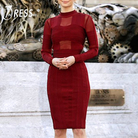 INDRESSME 2019 Vestidos Sexy Mesh Long Sleeve Women Party Club Bandage Dress Knee Length Bodycon Dress Wine Red Wholesale Hot