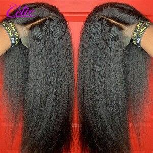 Image 2 - Кудрявый прямой парик Celie фронта шнурка человеческих волос парики для черных женщин предварительно сорванные 360 кружева фронта al парик Glueless человеческие волосы парики