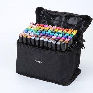 24 Вт, 30 Вт, 40/60/80 Цвет для рисования с нарезкой на обоих концах Маркеры Ручка на спиртовой основе эскиз фломастера жирной Twin кисть товары для р...