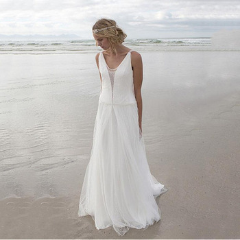 Beach Wedding Dresses 2020 Lace Appliques Tulle Bridal Wedding Gowns Backless Floor Length Vestido De Noiva Boho Wedding Gowns short wedding dresses 2019 new design v neck cap sleeve backless tea length a line tulle lace bridal gowns vestido de noiva