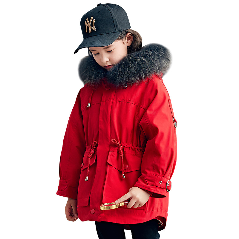Children's down jacket girls' long 2019 new thickened white duck down for boy  ND011