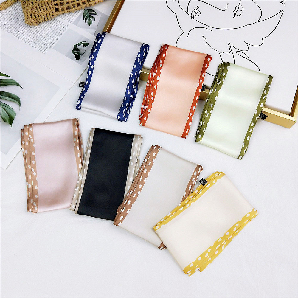 2020 New Spring Women's Long Black White Pink Headband Scarf For Head Hair Bags Silk Stain Scarves Neckerchief Female Bandana