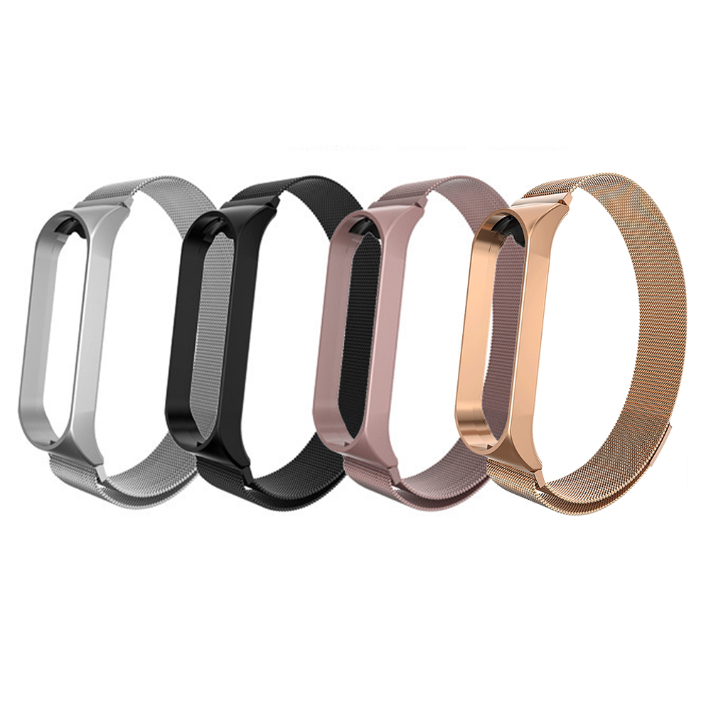 New For Xiaomi Mi Band 3 4 Metal Strap Wristband Stainless Steel Magnetic Suction Replacement Strap
