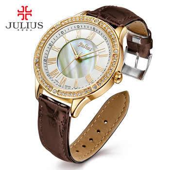 JULIUS Neue Weibliche Modus Temperament Leder Gürtel Mit Simulierten Quarz Runde Uhr Wasserdicht Damen Stunde Mädchen Uhr JA-695