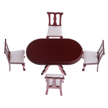5 шт. 112 Миниатюрный Кукольный Домик из розового дерева обеденный стол стул набор деревянной мебели, декор для кукольного дома гостиной