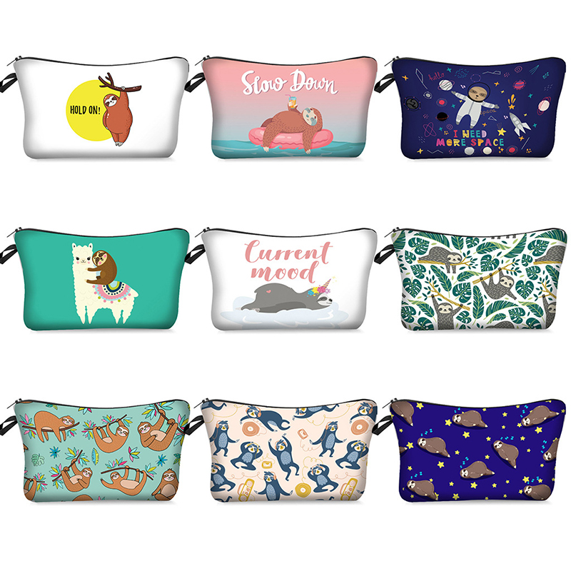 Women Llama Tree Sloth Fashion Cosmetic Bag Beauty Case Organizer Bag Toiletry Makeup Bag Cute Cartoon Makeup Pouch Girls Purse