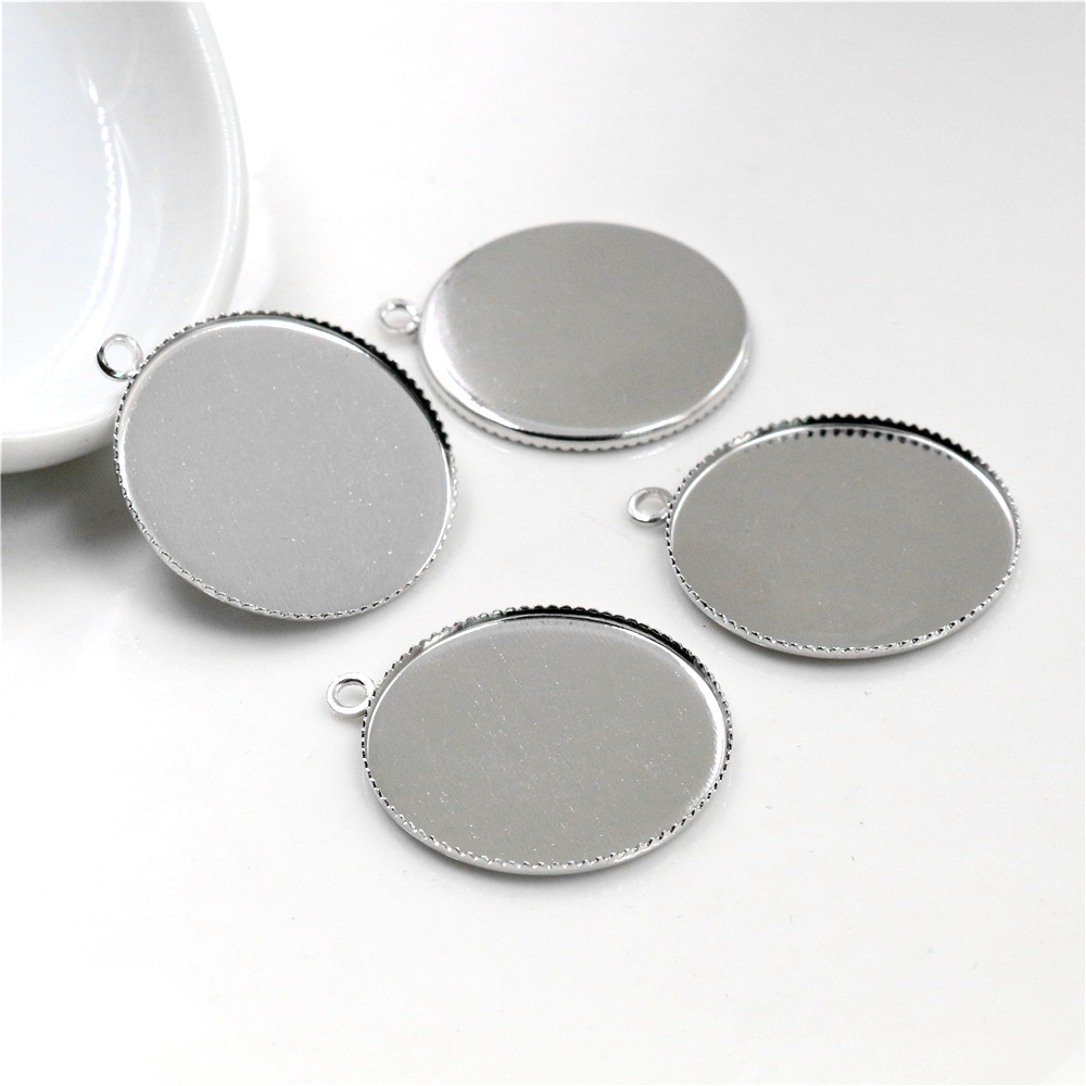 20pcs 25mm Inner Size Stainless Iron Material Rhodium Colors Simple Style Cabochon Base Cameo Setting Pendant Tray-S2-26