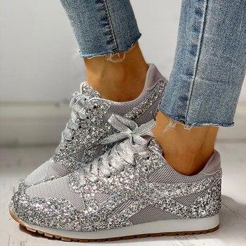 Women Flat Glitter Sneakers Casual Bling Vulcanized 1