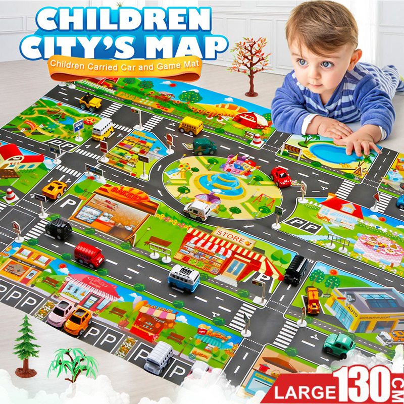 130 100CM Large City Traffic Car Park Play Mat Waterproof Non woven Kids Car Playmat Toys 130*100CM Large City Traffic Car Park Play Mat Waterproof Non-woven Kids Car Playmat Toys for Children's Mat Boy Car
