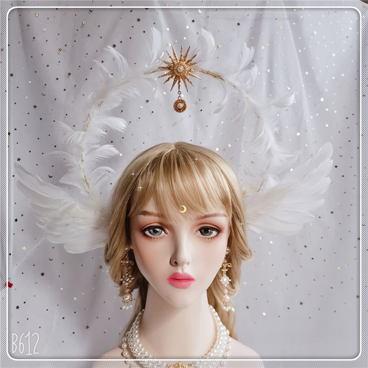 Goddess Virgin Handmade KC Headwear Lolita Notre Dame Halo Sun Apollo Aperture Headband Angel Feather Wings Church Crown Fairy