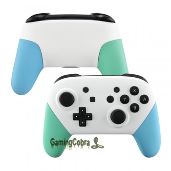 Soft Touch White Faceplate Backplate Mint Green Heaven Blue Handles Grip Housing Replacement for Nintendo Switch Pro Controller