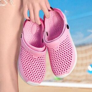Image 5 - 2020 new couple sandals hole shoes unisex slippers hole garden shoes Crocse Adulto Cholas Hombre sandals