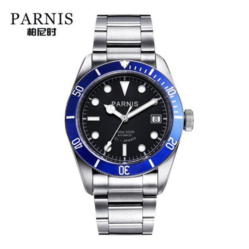 Parnis Automatic Watch Men Stainless Steel Luminous Luxury Brand Sapphire Crystal Men's Miyota Mechanical Watches Gifts For Men