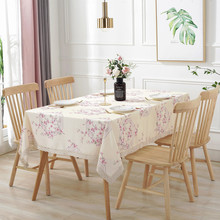 Simanfei Waterproof Table Cloth Printed Pastoral Peach Floral Cover With Lace Home Decoration Dining Coffee Tea Tablecloth