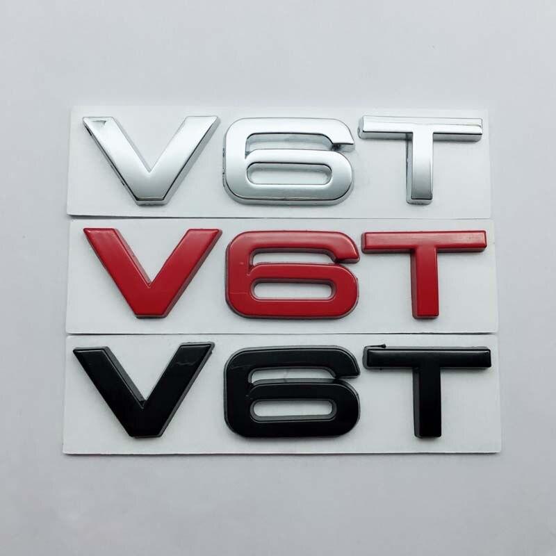 1pcs 3D V6T V8T Glossy Black Letter Number Emblem Car Styling Fender Side Trunk Badge Logo Sticker for Audi TTRS Q3 Q5 A7 A8L