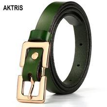 купить AKTRIS Ladies Soft Genuine Leather Belts Girls Gold Buckles Metal Female Retro Thin Belt for Women Jeans 1.5cm Wide LDFC004 онлайн