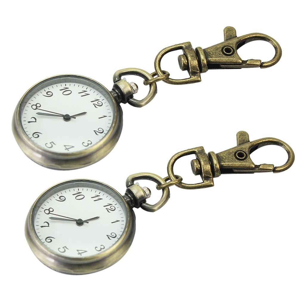 2PCS Quartz Retro Pocket Watch With Sports Key Chain Key Ring Bronze  Round Watch Pocket Watch