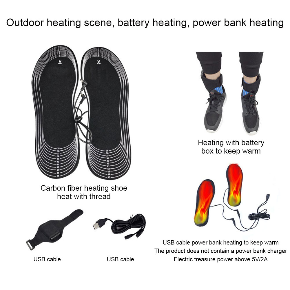 USB карбон волокно электрический нагрев стельки EVA 4,5 В аккумулятор аккумулятор коробка может быть вырез стельки