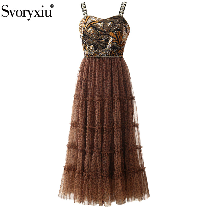 Svoryxiu Luxury Runway Summer Party Crystal Diamond Spaghetti Strap Long Dresses Women's Sexy Leopard Print Tulle Long Dress