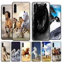 Running horses Soft Case Coque for Samsung Galaxy A10 A10e A20 A20S A30 A40 A50 A70 A51 A71 Black Cover Capa