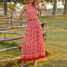 Bohemian Women Dress Spring Summer The New Fashion Loose Simple Thin Elegant Best Sellers Printing Sling
