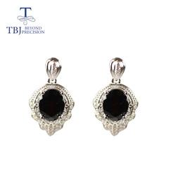 TBJ ,Natural Black garnet earring oval 7*9mm 4.5ct  real zambia gemstone 925 sterling silver fine jewelry for women