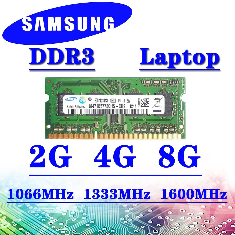 Samsung dizüstü bilgisayar belleği ddr3 2GB 4GB 8GB 1066MHz 1333MHz 1600MHz RAM pc3- 8500S 10600S 12800S DDR3 16GB 32GB