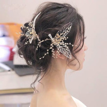Korean pearl hairpin  golden leaf accessories bridal hair jewelry wedding head piece