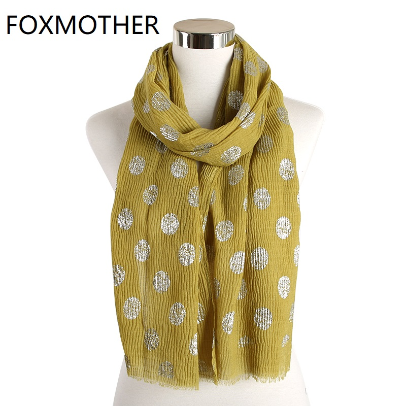 FOXMOTHER New Pink Orange Yellow Crinkle Hijab Scarf Polka Dot Scarves For Women Shawl Wrap Ladies Foulard Femme