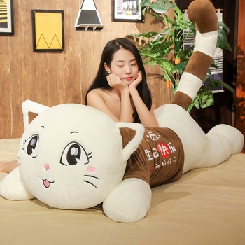цена на Lovely Big Size High Quality Cat Plush Toy Soft Cartoon Animal Pussy Stuffed Doll Sofa Bed Pillow Cushion Girl Kid Birthday Gift