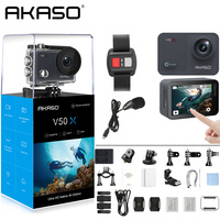 AKASO V50X Native 4K/30fps WiFi Action Camera with 2'' EIS Touch Screen 131 Feet Waterproof Camera Remote Control Sports Camera