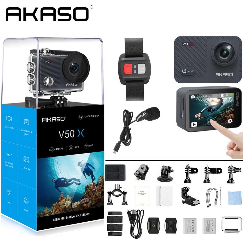 AKASO V50X natif 4 K/30fps WiFi caméra d'action avec 2 ''EIS écran tactile 131 pieds étanche caméra télécommande caméra de sport