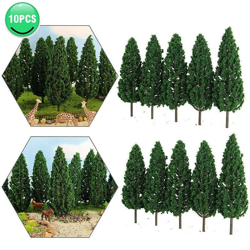 10 шт. сосны 1:25 модель железнодорожной железной дороги здания зеленый модельное дерево для O G шкала макет железной дороги диорама карточная ...