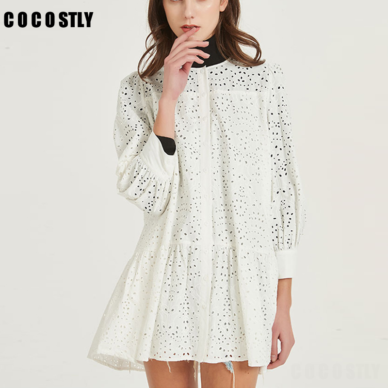 2020 Summer Dress Sexy Hollow Out Mini Shirt Dress Women Long Sleeve Casual Loose White A-Line Party Dresses Female Vestidos