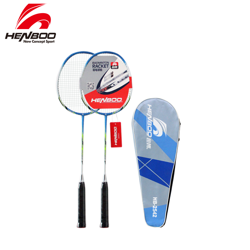 HENBOO Lightweight Badminton Set Standard Use Durable Iron Alloy Training Badminton Racket With Tote Bag Sports Equipment 2542