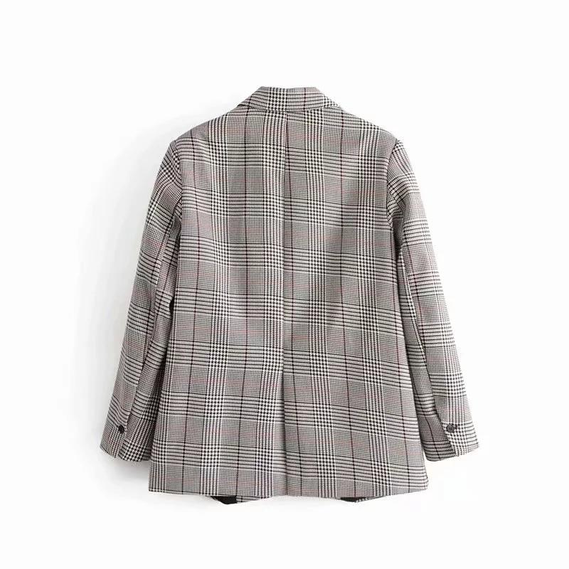 Vintage Single Breasted Office Ladies Plaid Blazer Long Sleeve Loose Houndstooth Suit Coat Jacket Women blazers Female 2019