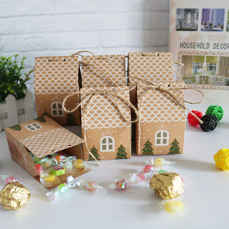 Christmas House Style Christmas Gift Box Kraft Paper Gift Candy Bag Paper Bag Kraft Candy Cookies Box Party Supplies