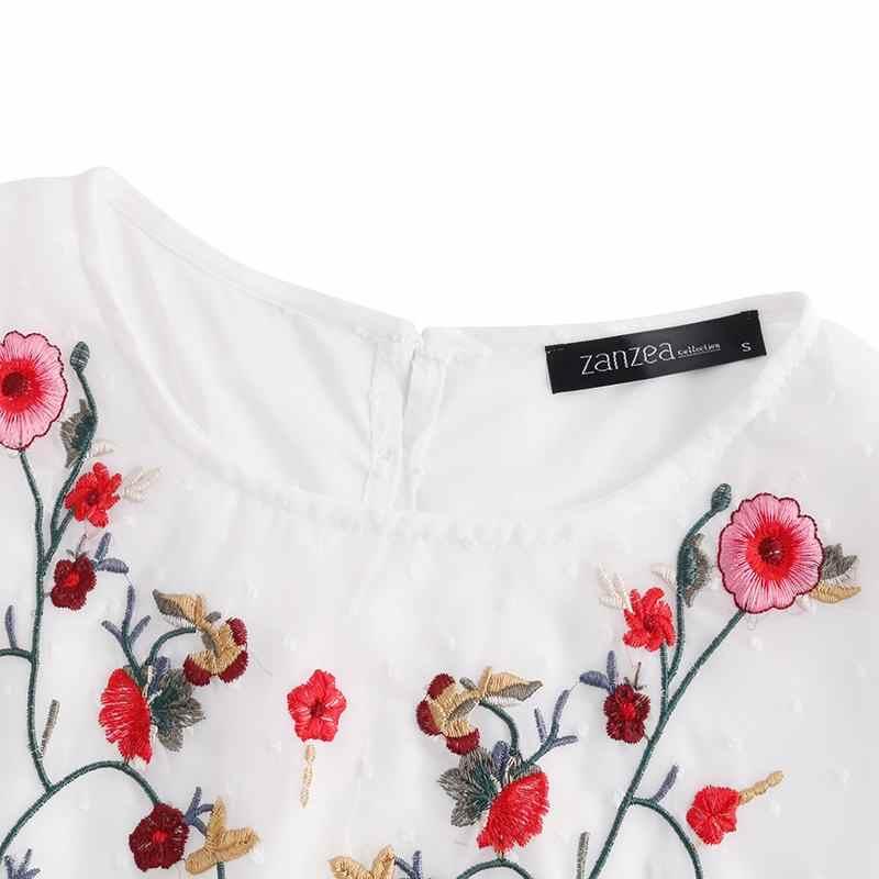 Zomer Bohemian Tanks Tops Zanzea Vrouwen Bloemen Borduren Blouse Mouwloze Shirts Casaul Ruches Blusas Vesten Femininas Top