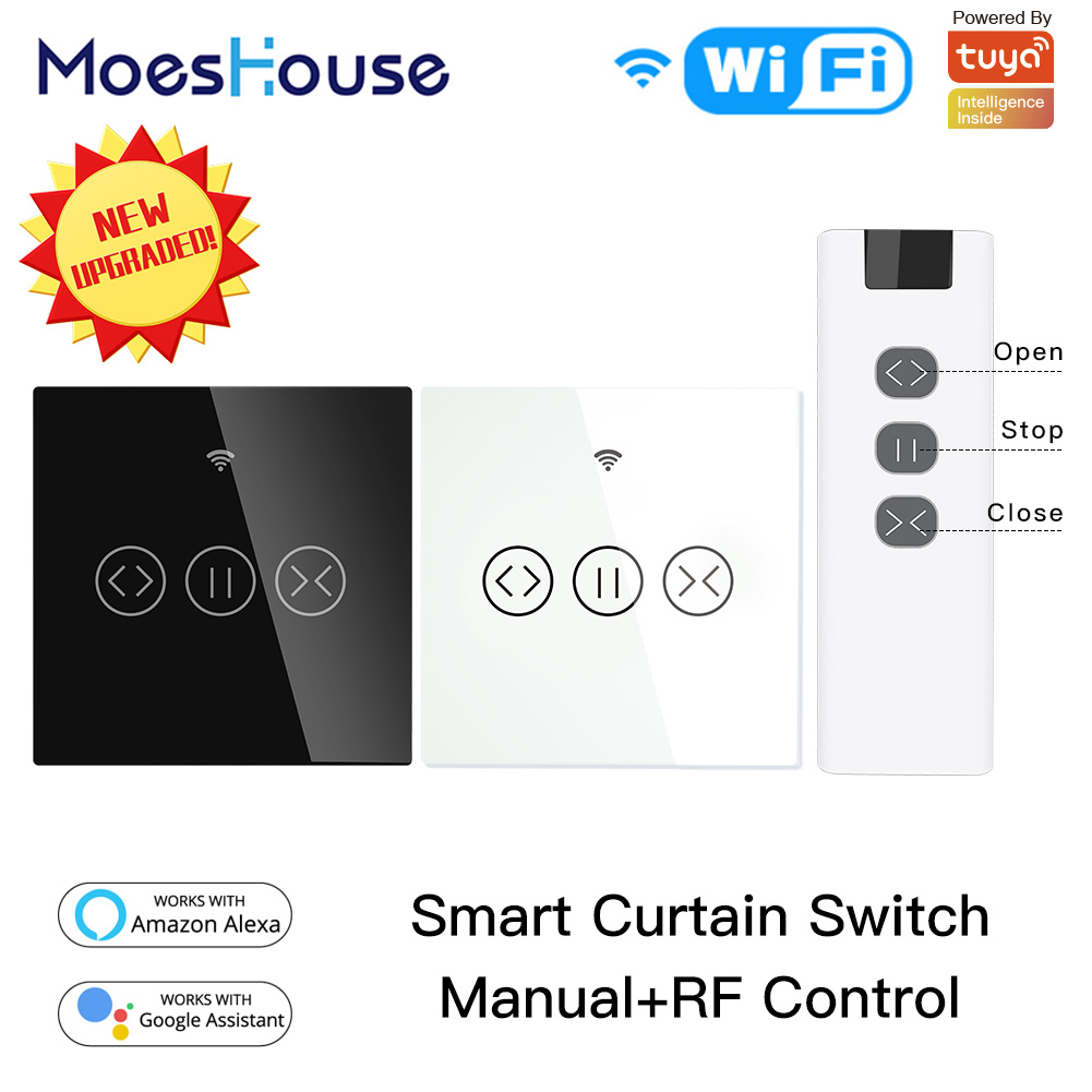 WiFi RF433 Smart Touch Curtain Roller Blinds Motor Switch Tuya Smart Life App Remote Control Works with Alexa Google Home