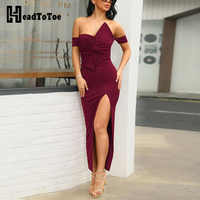 Sexy Off Shoulder Bowknot Ruched Design Slit Dress Women Night Club Party Dress Elegant Long Dresses