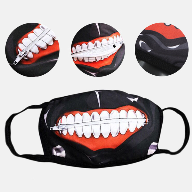 1PC Cotton Dustproof Mouth Face Mask Anime Zipper Cartoon Kpop Fashion Tokyo Ghoul Women Men Muffle Face Mouth Masks Cover 1