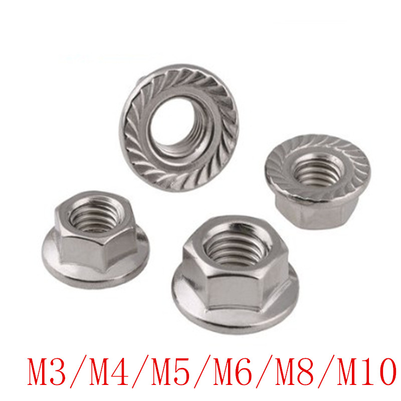 Гайки din6923 M3 m4 m5 m6 m8 m10 304 из нержавеющей стали, шестигранные фланцевые гайки с блокировкой скольжения, 5-50 шт.