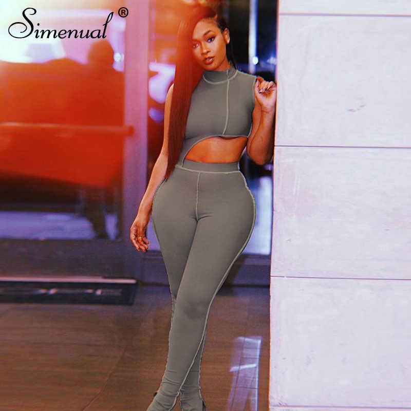 Simenual casual desportivo activo wear conjunto de correspondência mulheres sem mangas treino bodycon 2 peça outfits magro colheita topo e calças conjuntos