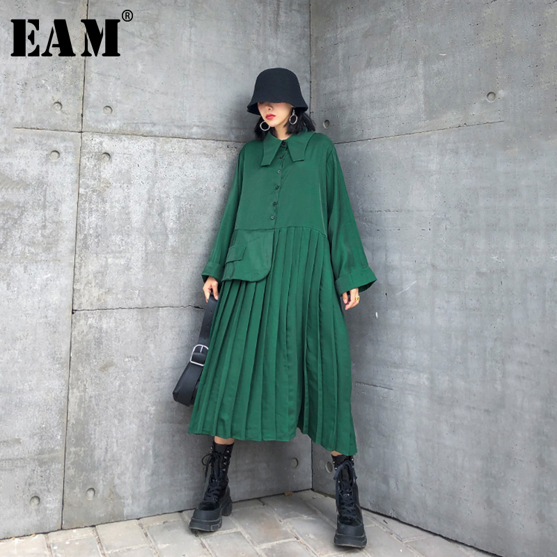 [EAM] Women Green Pleated Big Size Long Shirt Dress New Lapel Long Sleeve Loose Fit Fashion Tide Spring Autumn 2020 1R804
