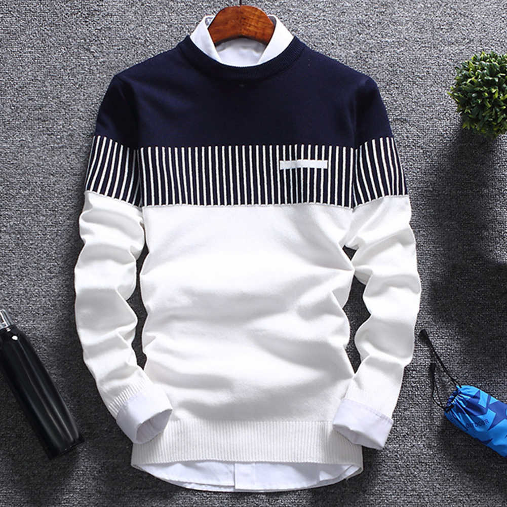 패션 남자 스트라이프 스웨터 풀 오버 컬러 블록 패치 워크 O 넥 긴 소매 니트 스웨터 탑 블라우스 따뜻한 남자 의류