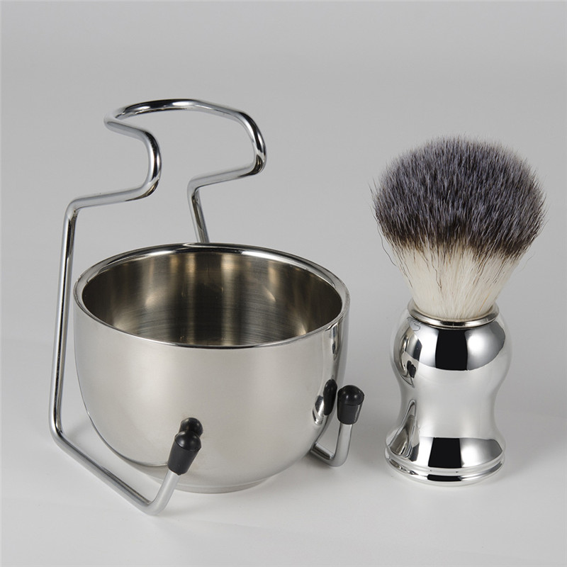 2 In 1 Shaving Brush Holder & Soap Bowl Stainless Steel Men's Shaving Brush Razor Stand Holder Kit Male Shaving Clean Tools Set